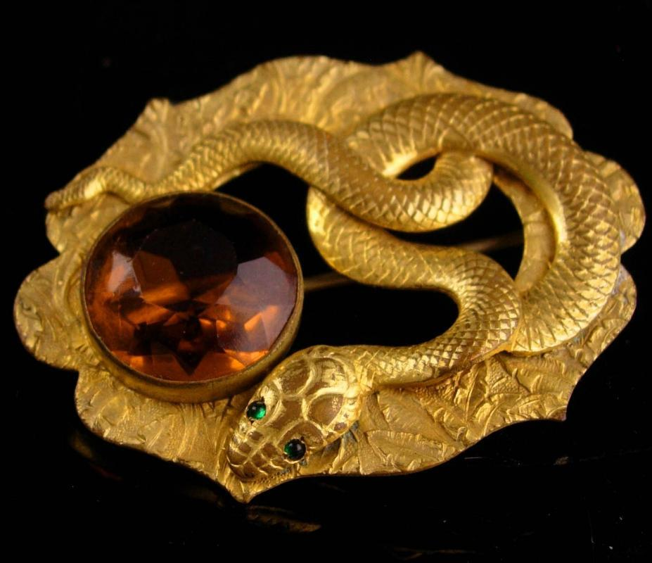Exotic antique Snake brooch - serpent sash pin - Vintage Figural Cleopatra pin - Egyptian Revival jewelry - victorian brooch