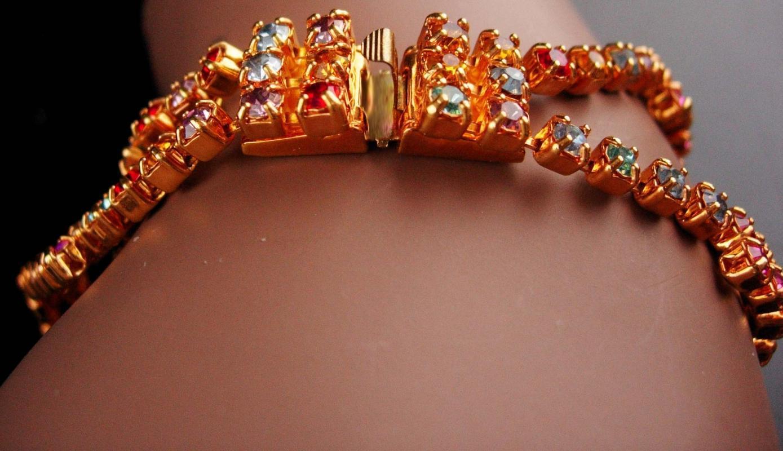 Blinged out butterfly Bracelet - BIG vintage rhinestone jewelry - statement bracelet - goddess jewelry - insect jewelry