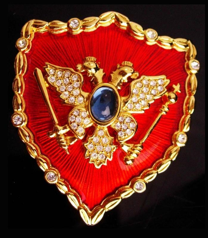 Large 2 inch Maria Vittoria Albani brooch - Ornella Bijoux red Enamel Pin - Double eagle Crest - Vintage couture jewelry - MVA italy jewelry