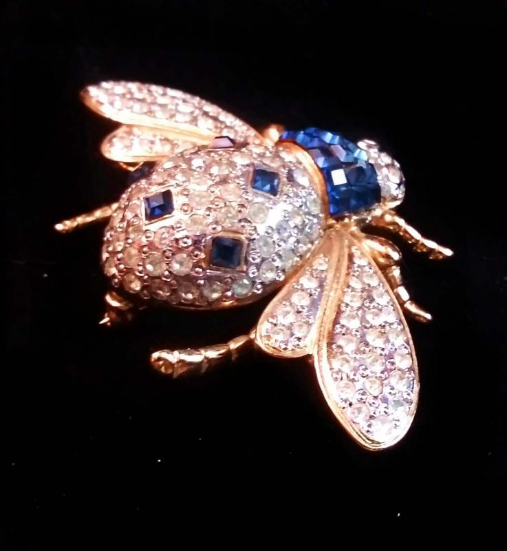 HUGE bee brooch - Vogue Bijoux rhinestone Insect pin - blue baguette - Vintage Fly - couture jewelry - estate brooch - statement jewelry