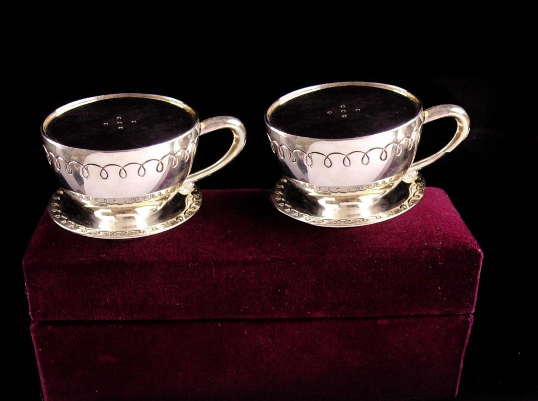 tea cup Salt Pepper Shaker set - vintage silver godinger set - original box - vintage wedding gift - tea party set