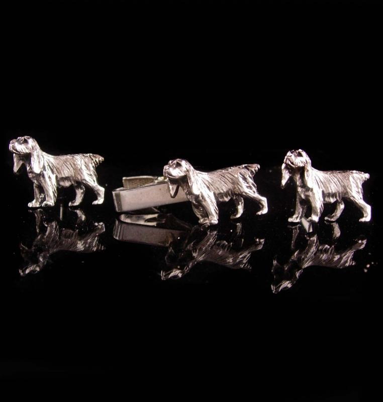 vintage Dog Cufflinks - Vintage Silver emmons Canine Tie Clip - Golden Retriever Lab Irish Setter Hound Dog Breeds Emmons Cuff Link Set