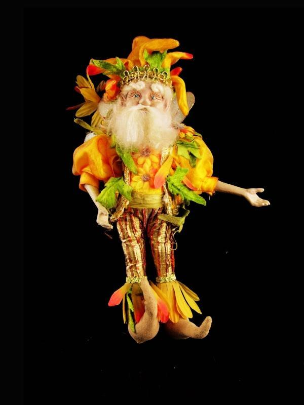 Vintage Mark Roberts Fairy - Santa elf - jester gnome - Sunflower doll - Gardener gift - christmas ornament - collectible fairies