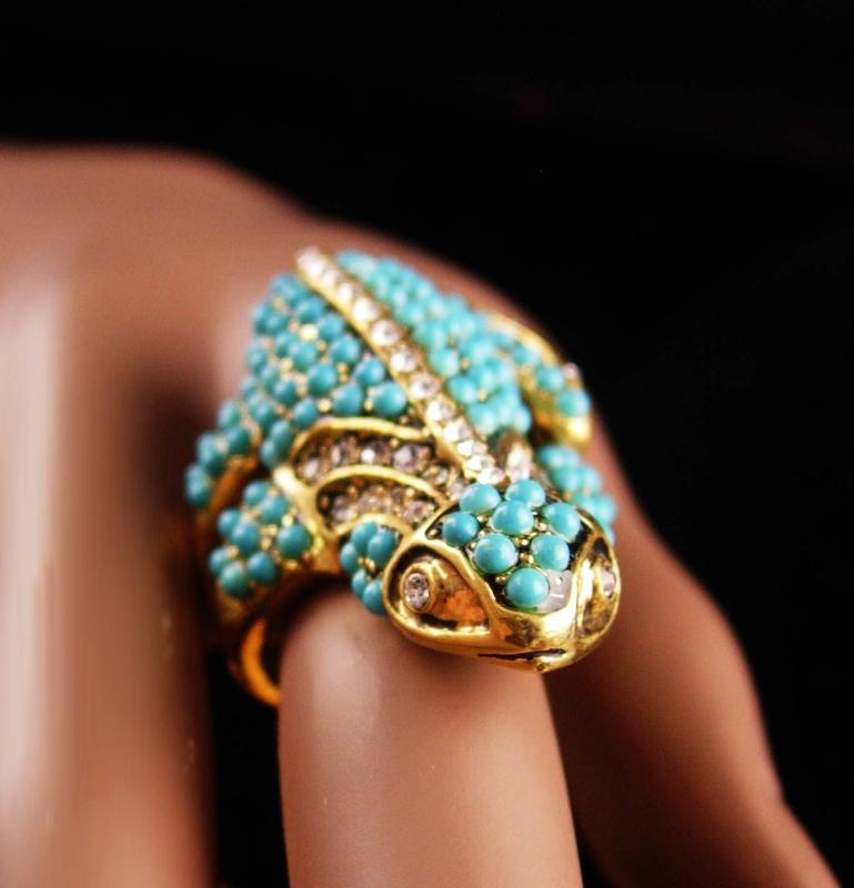 Edwardian style gecko ring - alligator lizard couture - Vintage signed KJL estate jewelry - Figural turquoise rhinestone - southwest Jewelry