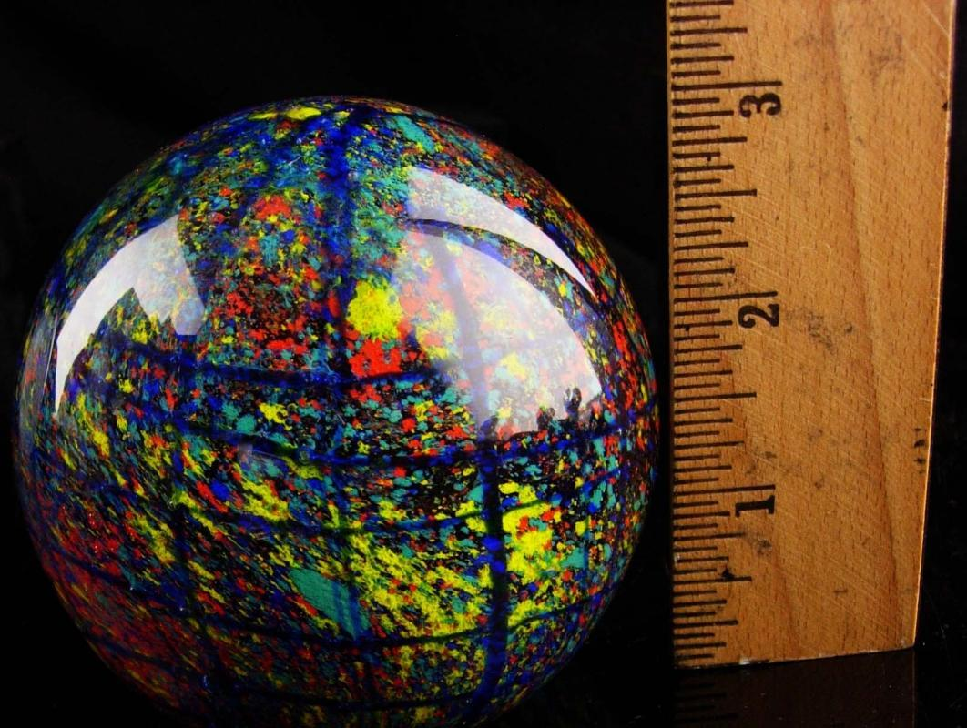 Vintage Glass Paperweight - Grid art glass - Hemisphere design - Mouth Blown - blue re yellow colors - gift for dad - glass globe
