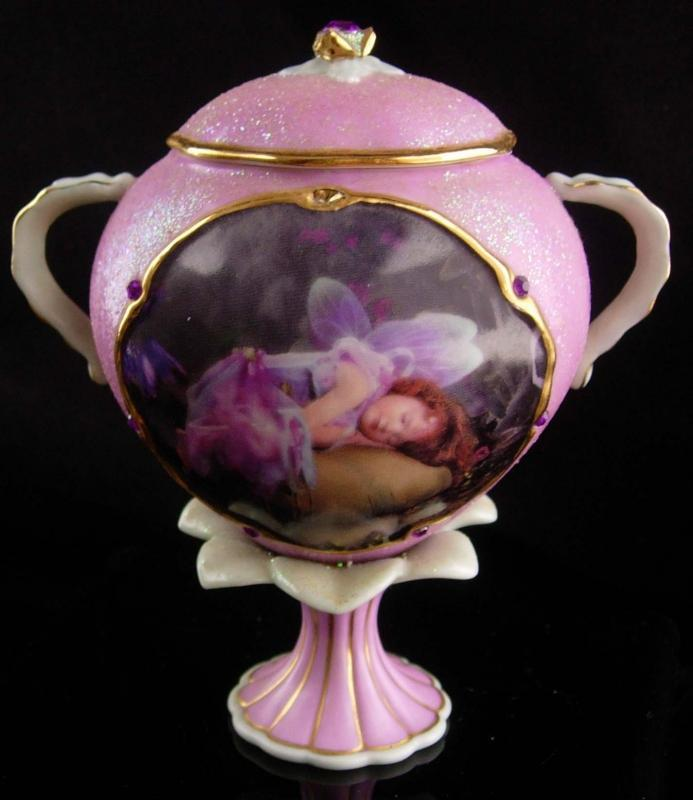 Vintage fairy music box - Dream limited edition - Ardleigh Elliot - Pink glitter victorian urn - cherub nymph  Beautiful dreamer works great