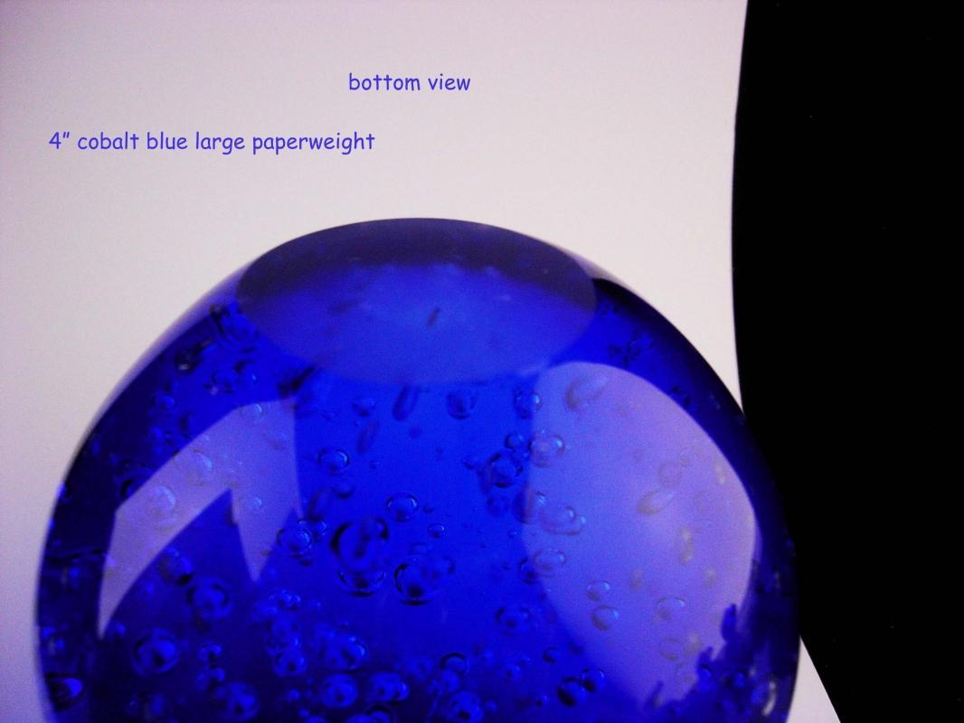 Vintage Cobalt blue Big paperweight - Water bubbles globe - nautical gift - gift for her - hand blown glass -housewarming gift