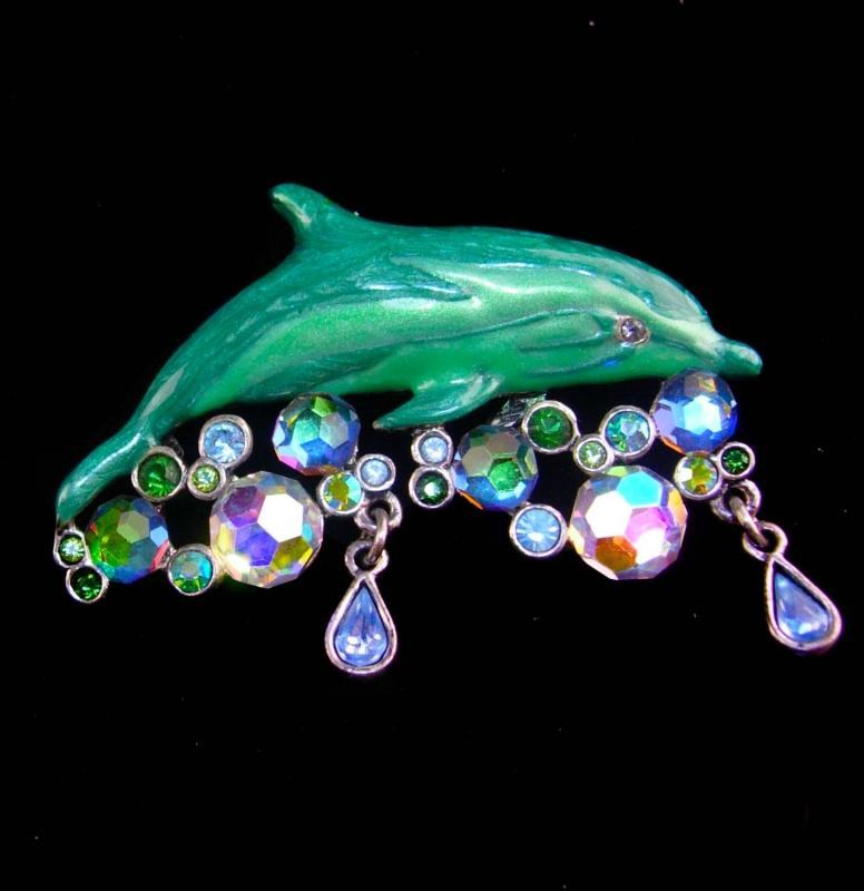 Sparkling Dolphin Brooch - Vintage rhinestone jeweled nautical pin - Designer Kirks Folly - signed Vintage lapel pin - aurora borealis