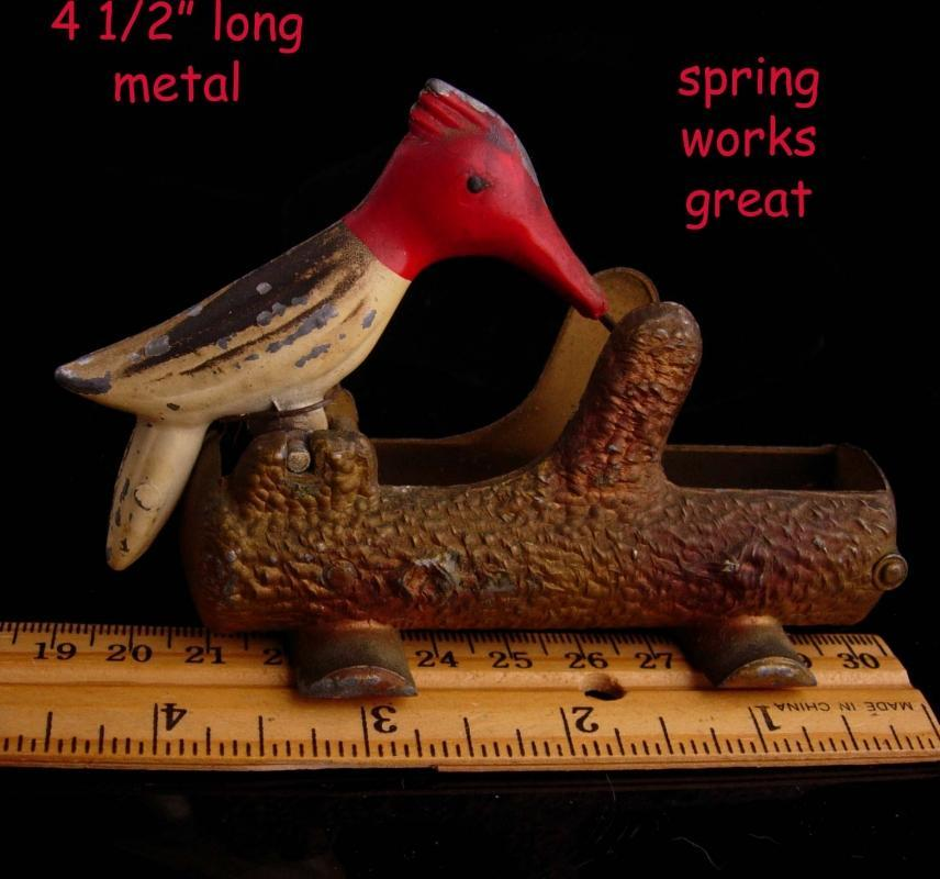 Antique metal toothpick holder - mechanical woodpecker - bird watcher gift - novelty kitchen item