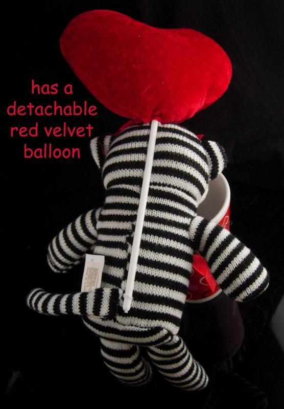 Large Sock Monkey - Vintage red velvet balloon - whimsical red I love you mug - Sweetheart gift - valentines day - hugs kisses