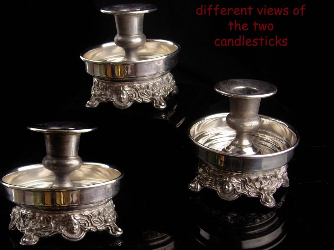 Fancy Sheridan Art Nouveau style Candlestick set - Figural womans face - nightstand candle stick - Silver plate