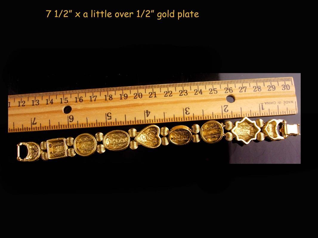 Vintage Victorian slide bracelet - bee cameo rhinestone slides / Edwardian heart jewelry / renaissance revival / Vintage costume jewelry