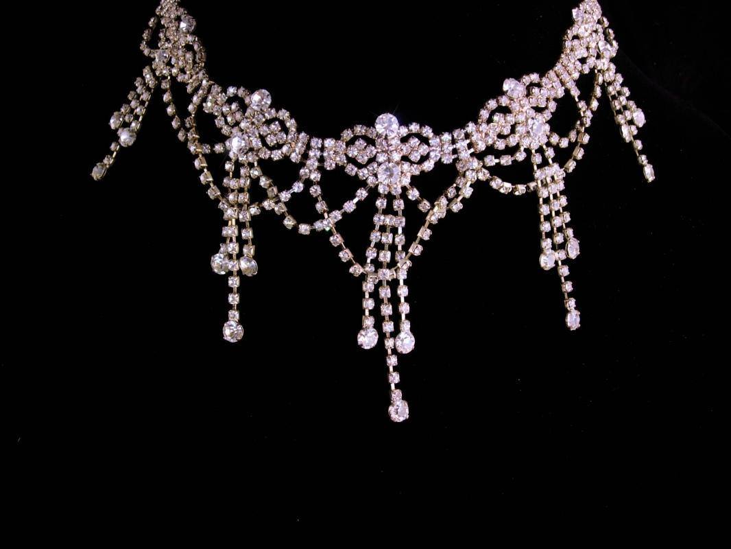 Vintage Edwardian style necklace - statement bib choker - exotic spider web jewelry - silver plate tassel drop - Vintage Wedding collar