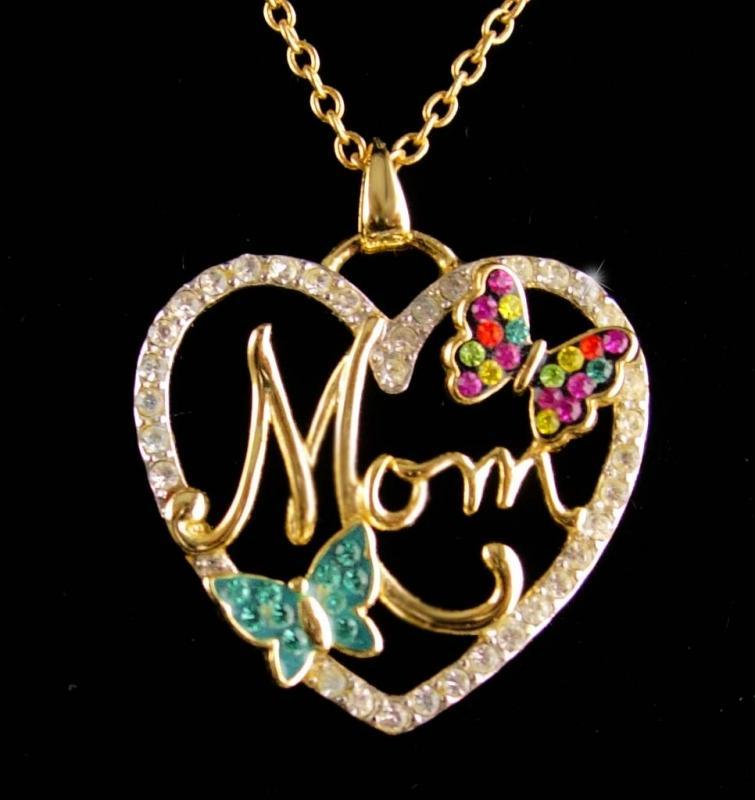 Butterfly Mom Necklace / Fancy script heart  / gift for mother / 18
