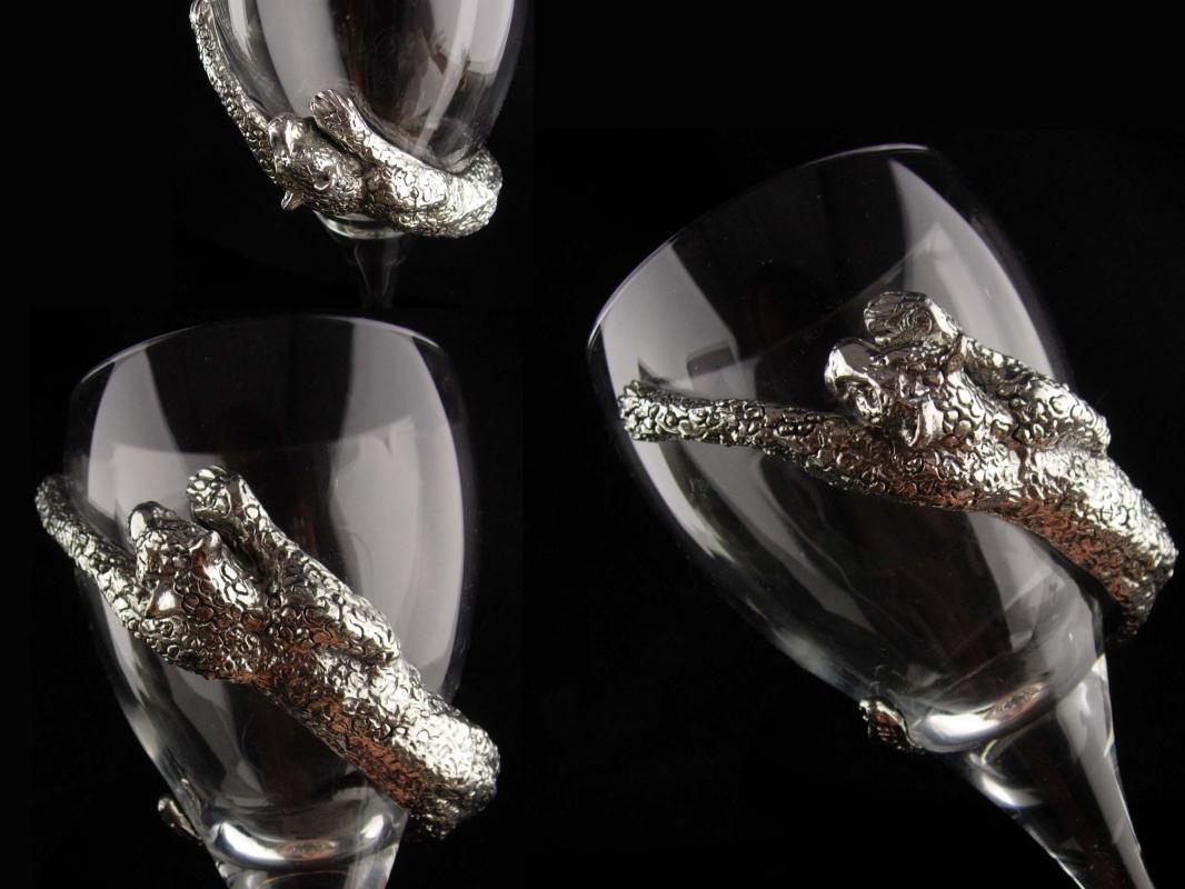 Exotic leopard Goblet - Vintage cougar cat glass - pewter Ngwenya stemware - Wine glass - metal panther - medieval glass
