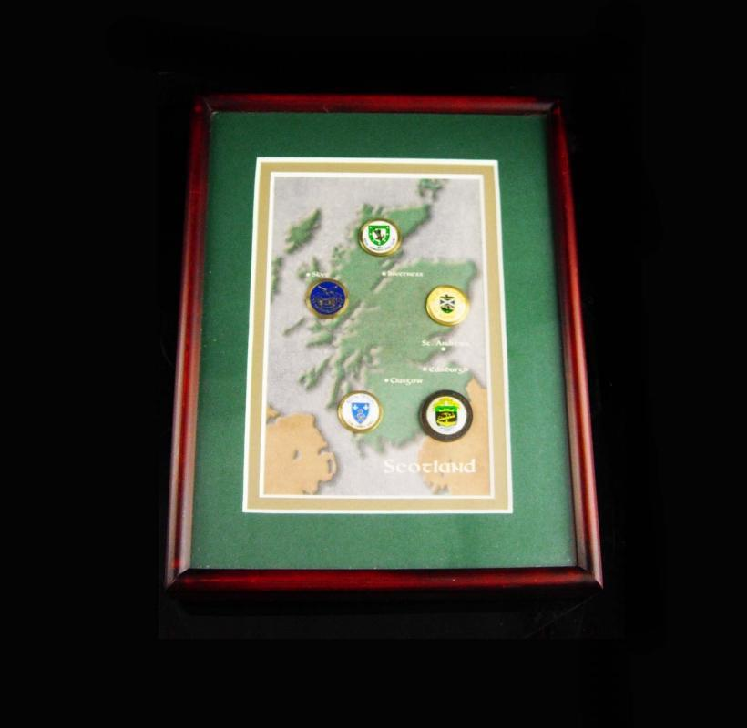 Vintage Scotland golf shadowbox frame - old style coin markers - Men's Golf Tournament - st andrew - edinsburgh - glasgow - skve - inverness