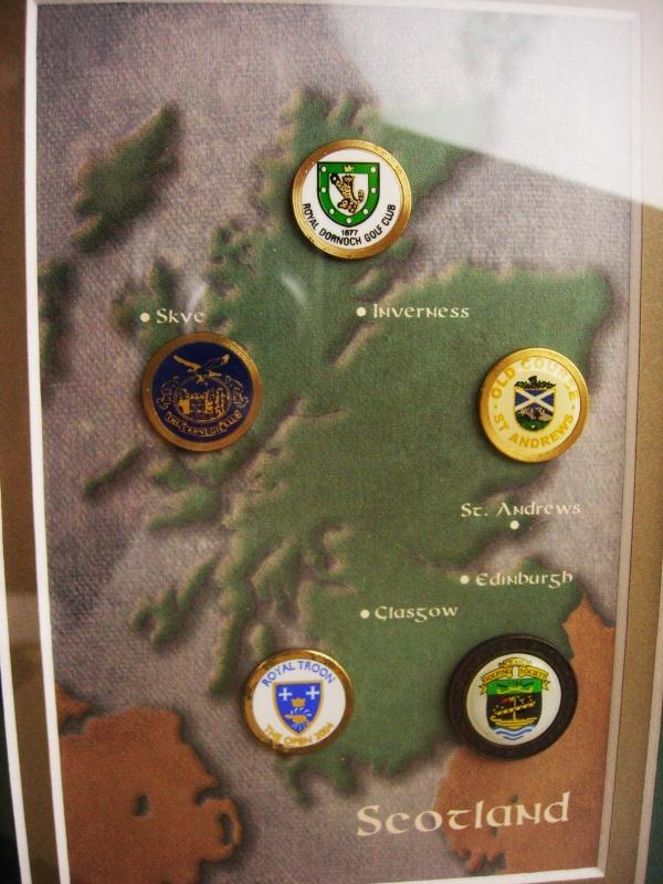 Vintage Scotland golf shadowbox frame - old style coin markers - Men's Golf Tournament - st andrew - edinsburgh - glasgow - skve - inverness
