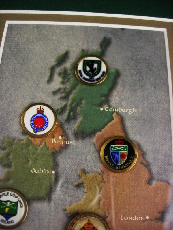 Vintage British Isles golf shadowbox frame - old style coin markers - Men's Golf Tournament - London -dublin -Belfast - Ireland Edinburgh
