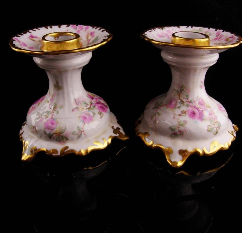 schumann germany candlesticks set - Bavarian porcelain candle holders - nightstand candle stick - pink roses - wedding gift