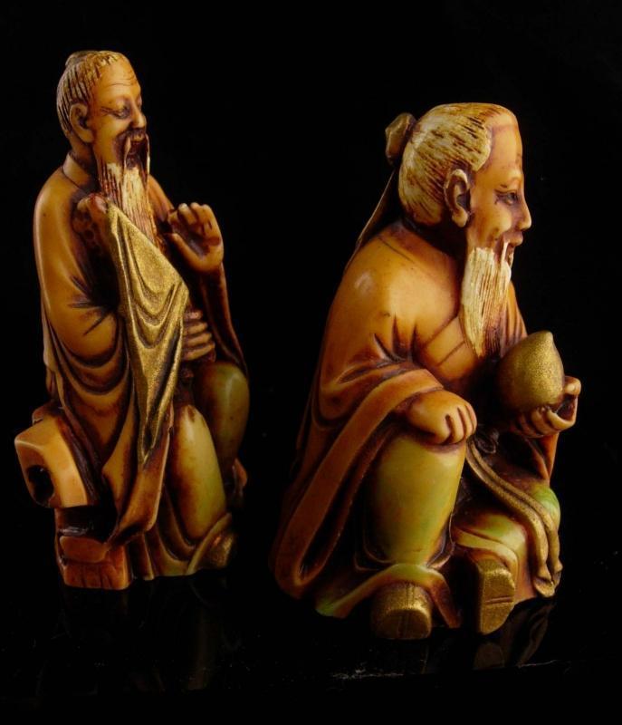 Vintage Chinese figurines - Asian wise men statues - oriental art - carved oriental art