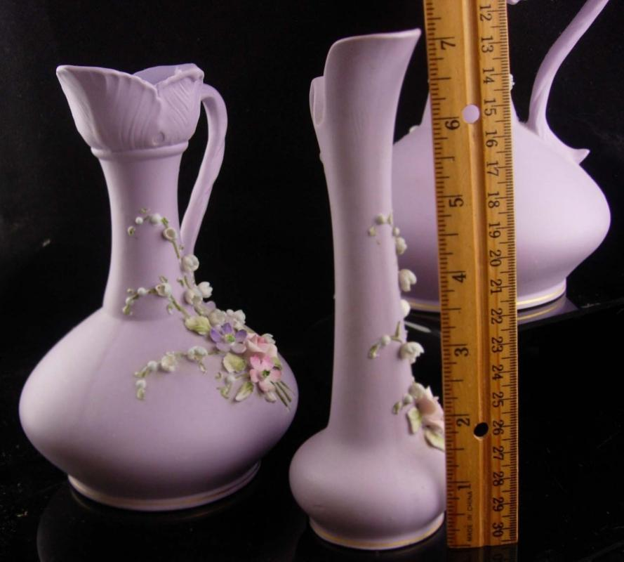Lilac Lefton pitcher set - Japan purple porcelain flowers - handpainted gardener gift - mothers day - anniversary gift