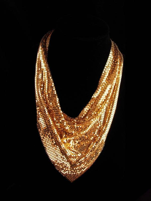 Dramatic signed Necklace - cleopatra collar - Whiting & Davis vintage jewelry - golden chainmail couture bib necklace - designer jewelry