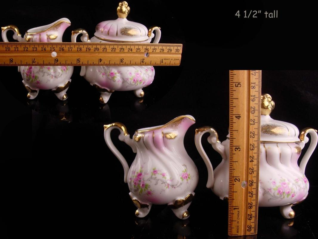 Vintage Lefton Teapot Creamer sugar set - porcelain pitcher - pink roses - Gold trim vintage tea set - gift for mom