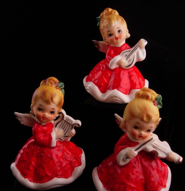 1950's Christmas Angel figurines - lefton set - Christmas statues - musical violin - Mandolin harp - retro girl figurines