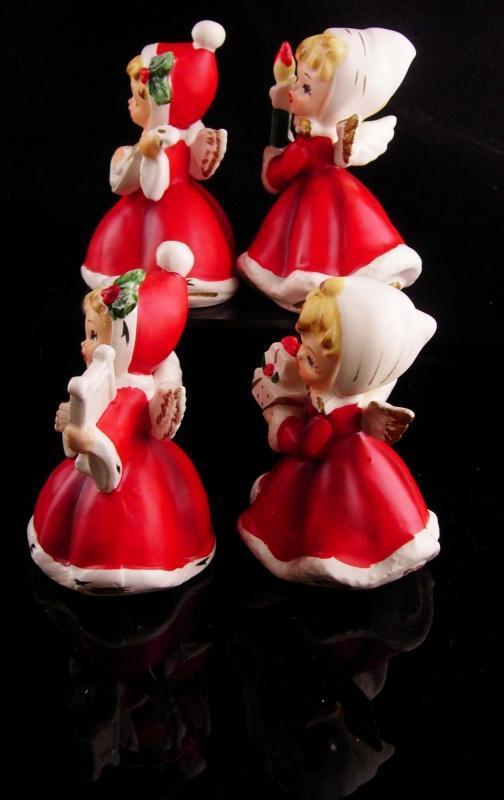 1950's Christmas Angel figurines - Napco Japan - Mandolin - Harp - Christmas statues - musical violin - girl figurines