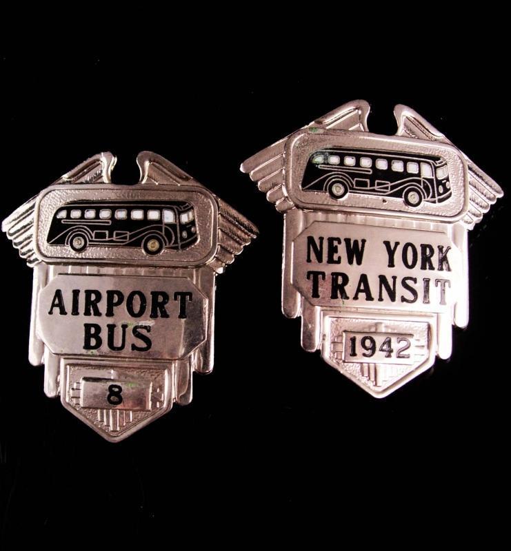Vintage New York Badge Lot - New York Transit 1942 - Airport bus 8 - Orber MFG hat badge  estate lot - Bus driver badges