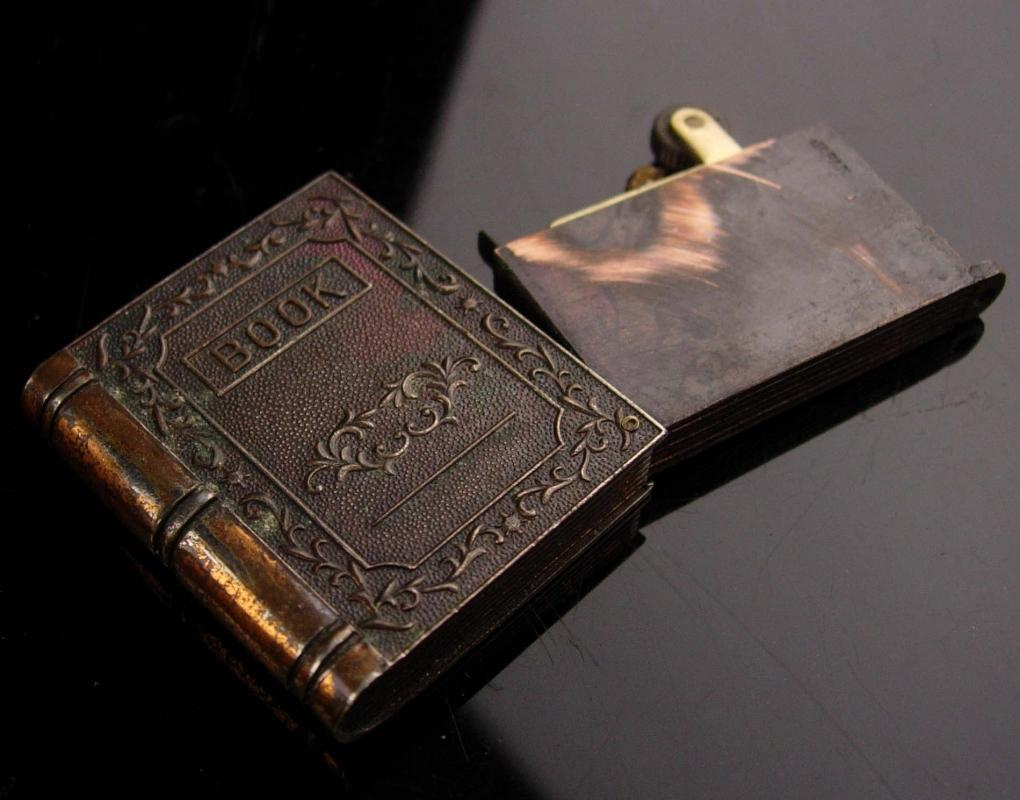 Vintage hidden compartment book locket - novelty mens lighter gift - made in Japan - gift for dad