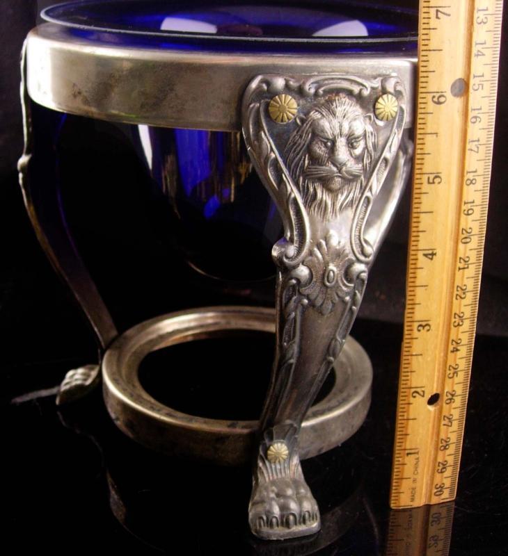 Gothic Lion stand - cobalt glass vase - medieval metal frame - vintage decor - candle holder - footed vase holder