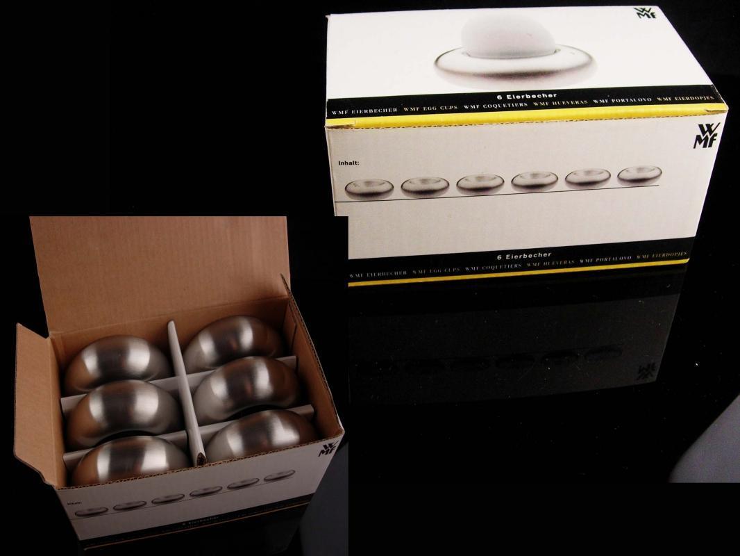 Vintage Modernist Egg Cup set - original box - brushed steel - Eirbecher - housewarming gift