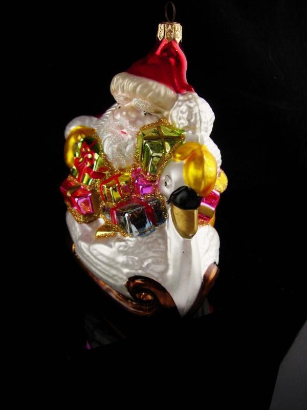 Vintage Santa & Swan ornament / Kirt Adler Polanaise - glass ornament / Christmas tree ornament -  5