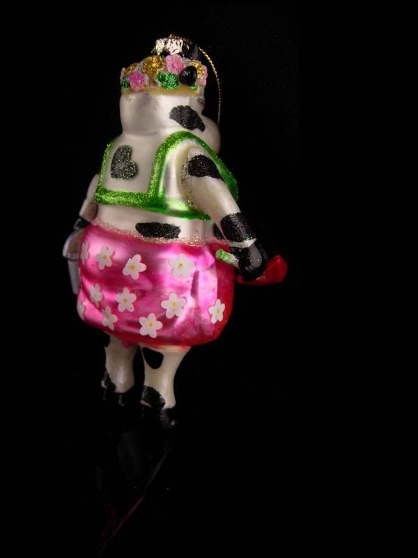 Hilarious Cow ornament / glass Christmas ornament / Gardener gift - vintage whimsical womens gift / novelty dressed cow