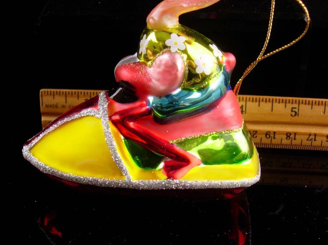 Hilarious flamingo ornament / glass Christmas ornament / pink bird on ski doo /  vintage whimsical gift / novelty Christmas present