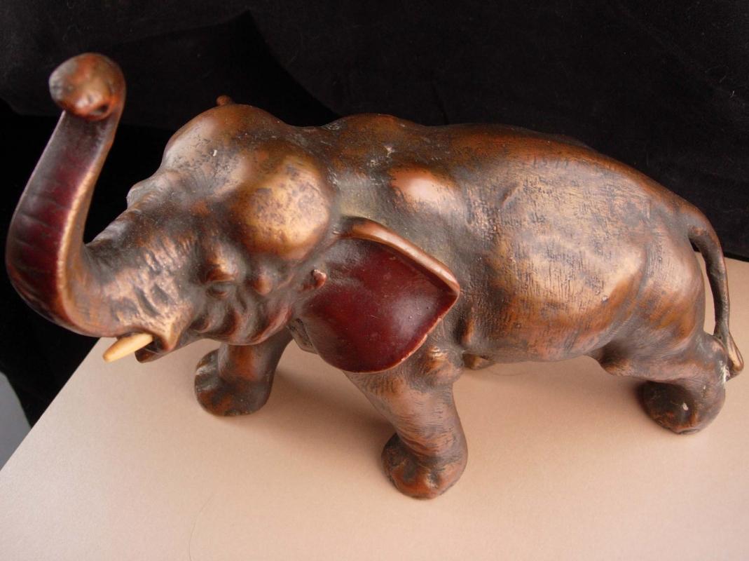 Antique Japanese Elephant statue / Heavy art deco bronze  sculpture / Vintage Showa period - japan good luck sculpture - Oriental art