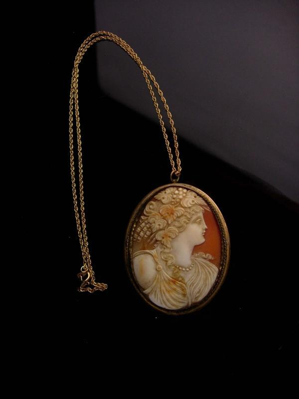LARGE Genuine Cameo necklace - GORGEOUS antique cameo brooch - portrait pendant -gift for her - anniversary gift - estate jewelry
