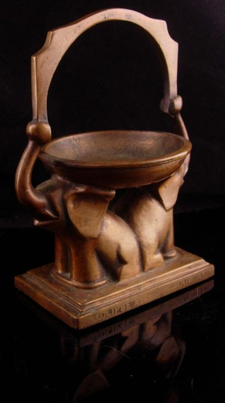 Vintage Chinese Alter - elephant incense burner - bronze handle with markings - good luck gift