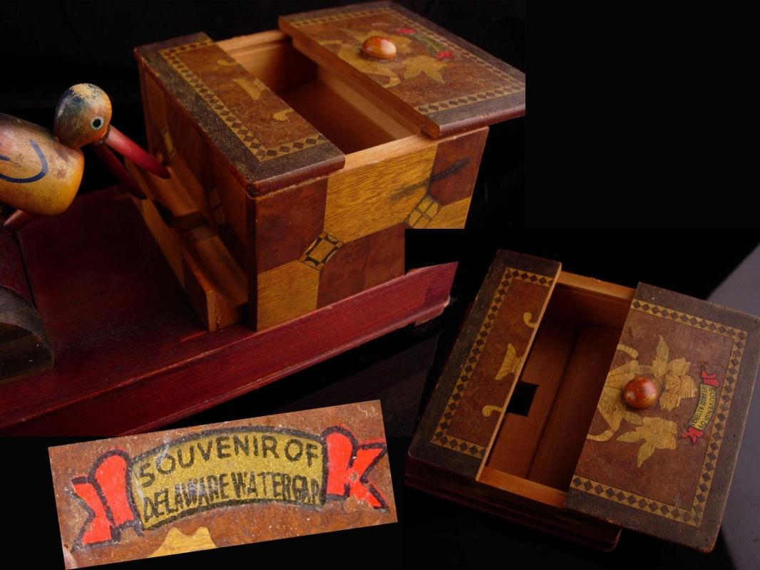 Vintage mechanical bird dispenser - marquetry wood box - bird watcher gift - Delaware watergap -novelty kitchen item New Jersey Pennsylvania