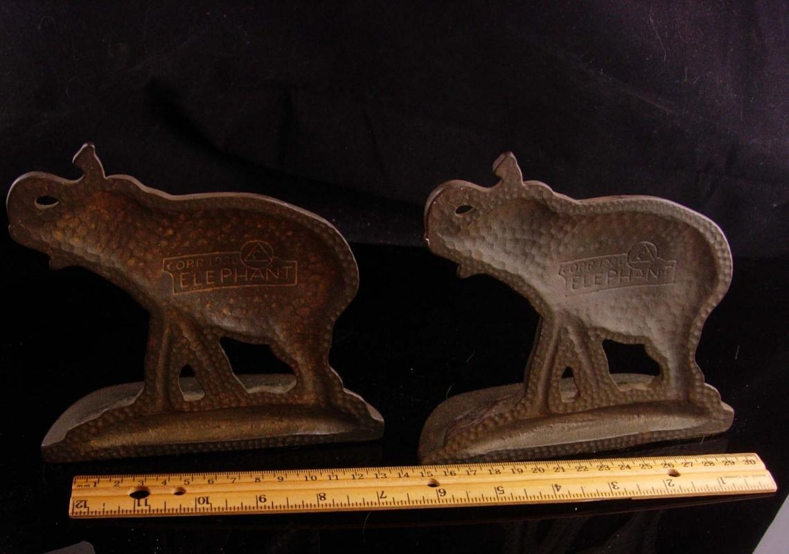 Antique elephant bookends - signed 1930 victorian mantle set - Vintage bookends - desk accessory - gift for him