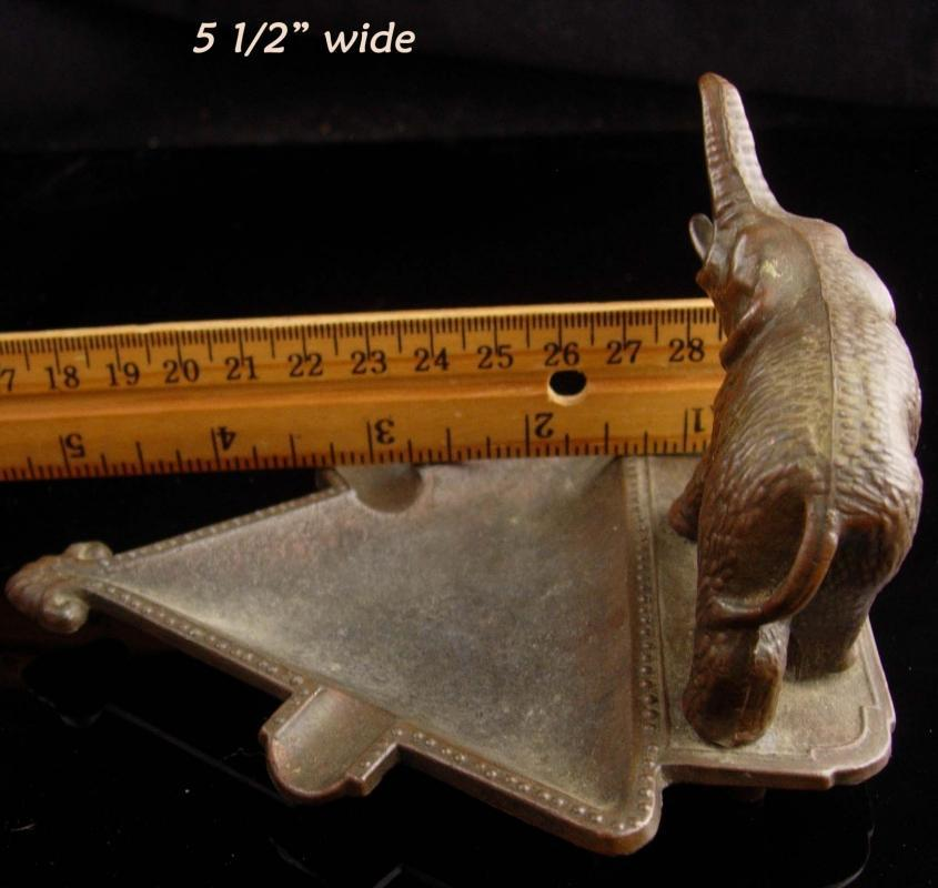 Antique Elephant Ashtray - Vintage brass Souvenir - dresser trinket tray - good luck gift