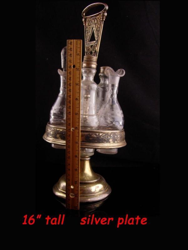 Antique victorian castor bottle set - fancy etched glass cruets - wedding gift - Lazy susan carousel - - Condiment service - Pedestal caddy