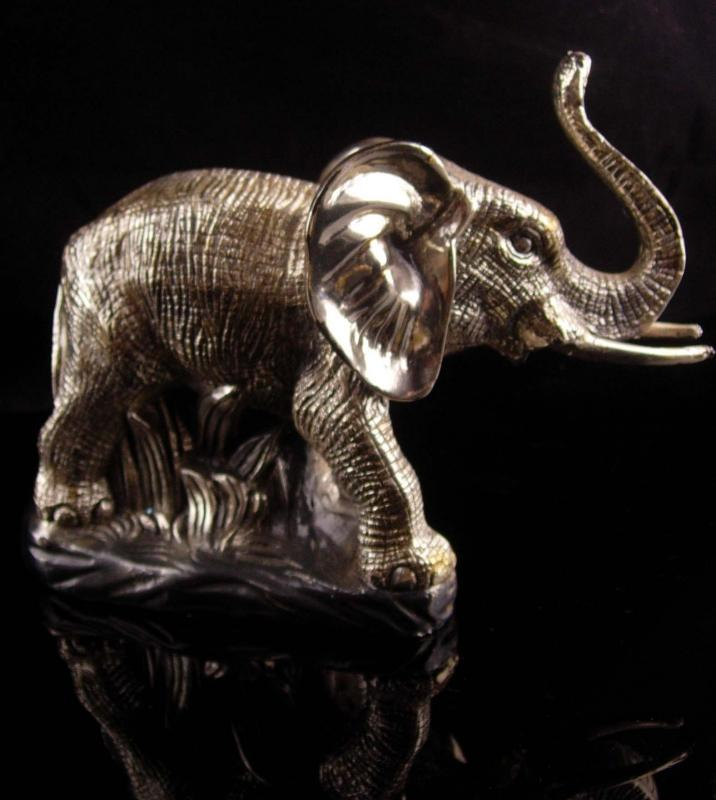 Large silver Elephant statue / Zanfel platta 999 - mama & baby sculpture / Vintage Benjamin Cortes - Good luck sculpture - Wildlife figurine