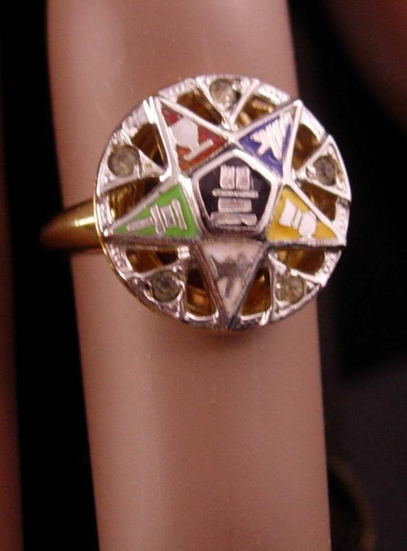 Vintage 10kt GF Masonic ring - sterling ladies Eastern star ring - vintage fraternal mason freemasonary - Signed C&C