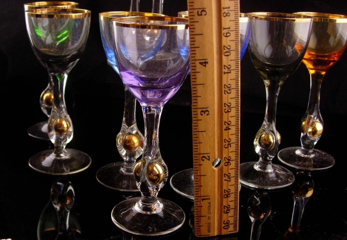 Vintage 10 pc Bohemian liquor set - small goblets - vintage Italy hand blown 24kt gold - wedding gift