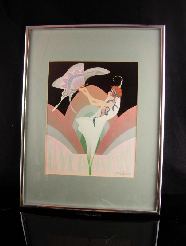 framed paris print / Harry Wysocki / Boudoir Art / Vintage Art Deco lithograph / glass and wood frame - 17 1/2 x 12