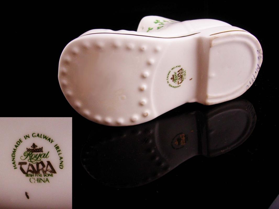 Vintage Irish Gift - Tara ireland bone china shoe - good luck gift - baby or housewarming gift - handmade galway green shamrocks - green