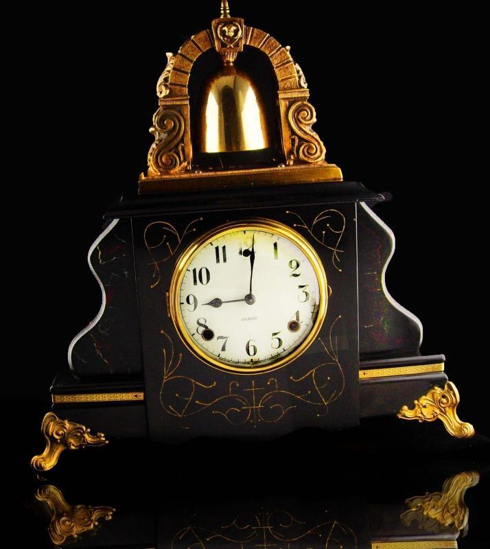 Big Antique 1913 Gilbert Mantle Clock - Runs great - unusual vintage victorian adamantine clock - gothic key wind clock 8 day time & strike