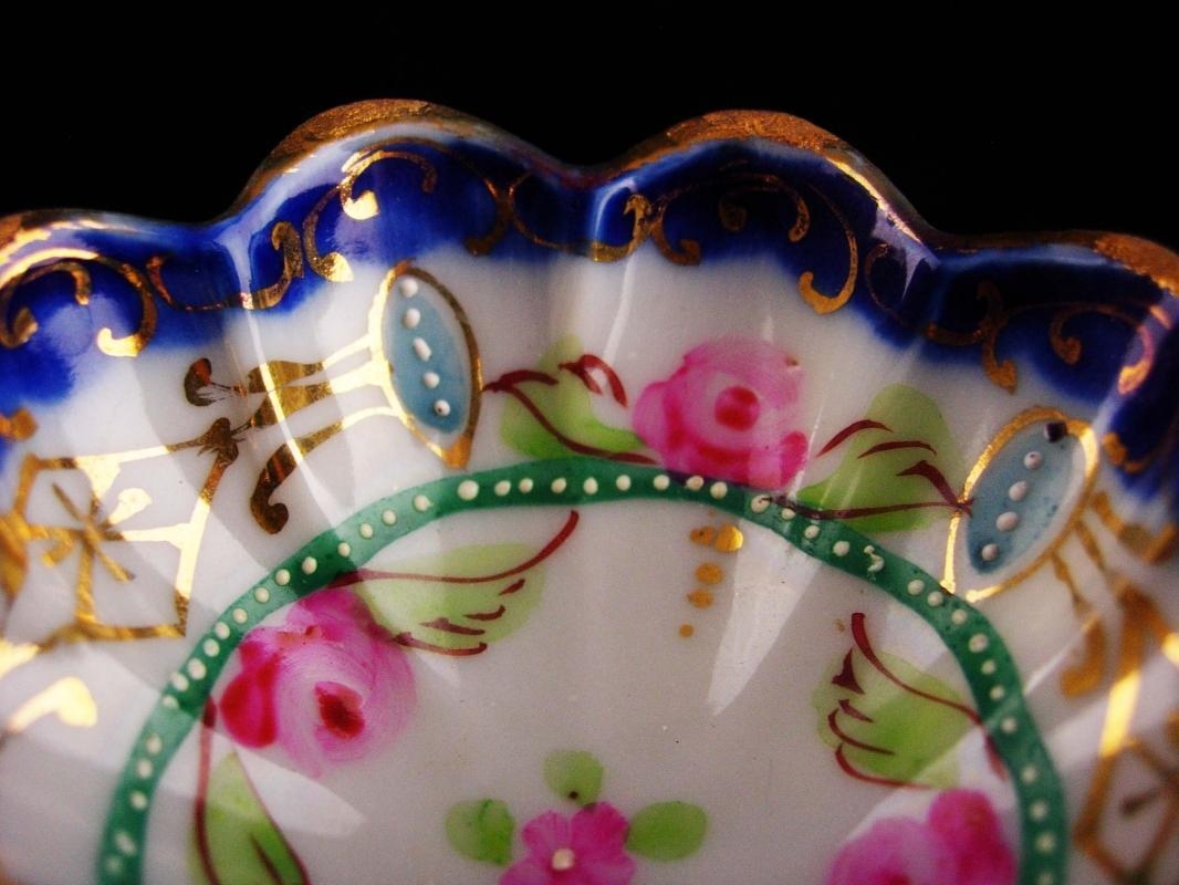 Antique finger bowl - Japanese trinket dish - vintage handpainted ruffled gold footed dish - cobalt raised relief tray